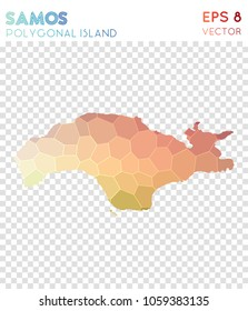 Samos polygonal, mosaic style island map. Likable low poly style, modern design for infographics or presentation.