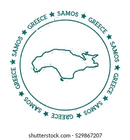 Samos vector map. Retro vintage insignia with island map. Distressed travel stamp with Samos text wrapped around a circle and stars. Samos map vector illustration.