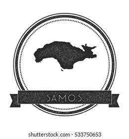 Samos vector map stamp. Retro distressed insignia with Samos map. Hipster round rubber stamp with Samos island text banner, island map vector illustration.