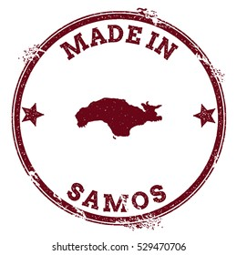 Samos vector seal. Vintage island map stamp. Grunge rubber stamp with Made in Samos text and island map, vector illustration.