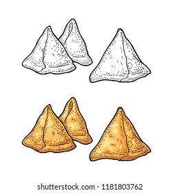 Samosa. Indian traditional food. Vector color vintage engraving illustration. Isolated on white background. Hand drawn design element for menu, poster, web