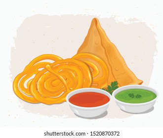 Samosa and jalebi - vector illustration with red and green sauce