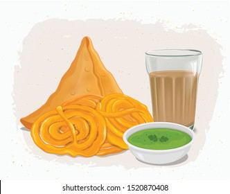 Samosa and jalebi vector illustration with traditional Indian tea glass