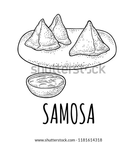Samosa On Board Sauces Bowl Indian Stock Vector Royalty Free