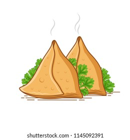 samosa on white background with green coriander leaves
