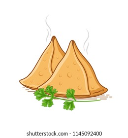 samosa vector with green coriander leaves