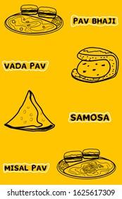 Samosa,Vadapav,Pav bhaji,Misal Pav indian Street Food Vector