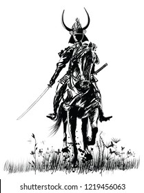 Samourai with sword on a horse - vector