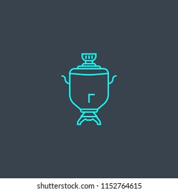 samovar concept blue line icon. Simple thin element on dark background. samovar concept outline symbol design from Russia set. Can be used for web and mobile UI/UX