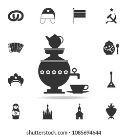 samovar with a cup of tea icon. Detailed set of Russian culture icons. Premium graphic design. One of the collection icons for websites, web design, mobile app on white background