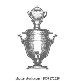 Samovar. Russian Symbol in Hand Drawn Style for Surface Design Fliers Prints Cards Banners. Vector Illustration