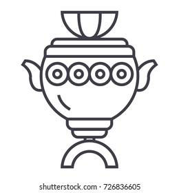 samovar sign vector line icon, sign, illustration on background, editable strokes