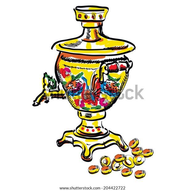 samovars colorful vector sketch tea. Vector EPS