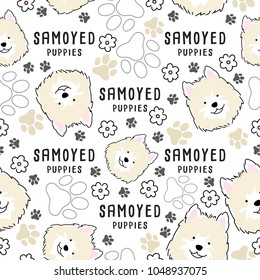 Samoyed : Dog breed collection : Seamless Pattern : Vector Illustration