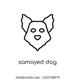 Samoyed dog icon. Trendy modern flat linear vector Samoyed dog icon on white background from thin line dogs collection, editable outline stroke vector illustration