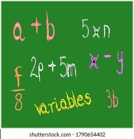 Sample algebraic expressions using basic operations on green board.