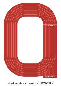 Sample athletics track field in a simple outline. Flat design. Vector illustration.