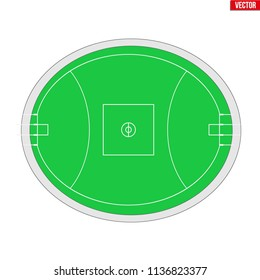 Sample of Australian rules football field in a simple outline. Scheme Flat design of Footy and Aussie rules. Vector illustration isolated on white background.