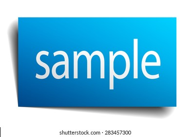 sample blue square isolated paper sign on white. sample sticker. sample. sample sign