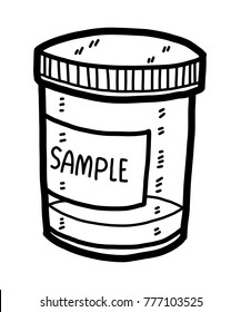 sample box / cartoon vector and illustration, black and white, hand drawn, sketch style, isolated on white background.