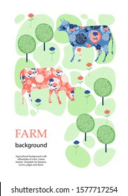 Sample brochure. Agricultural background. Cows in the pasture. Silhouettes of cows and flowers. Geometrical composition. Background for covers, flyers, banners.