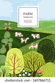 Sample brochure. Agricultural background. Cows in the pasture. Silhouettes of cows and trees. Geometrical composition. Background for covers, flyers, banners.
