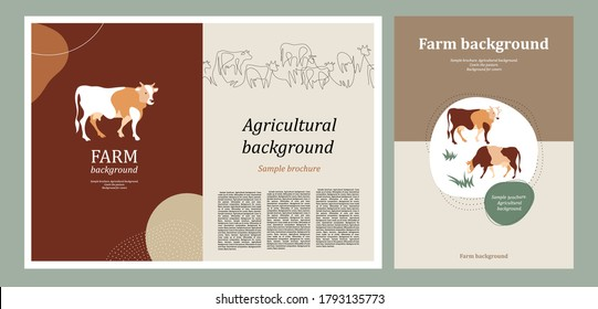 Sample brochure. Agricultural background. Cows drawn in one line. Cows silhouette made of multi-colored segments. Background for covers, flyers, banners. A set of banners.