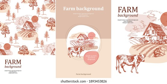 Sample brochure. Agricultural background. House and field. Cow in the pasture. Set of banners.