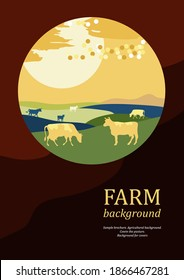 Sample brochure. Agricultural background. Sunset. Cows made up of circles. Silhouettes of cows. Geometrical composition. Background for covers, flyers, banners.