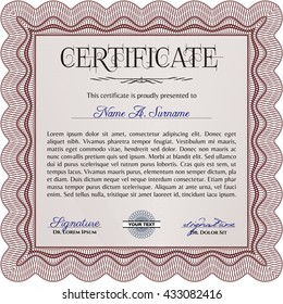 Sample Certificate. Artistry design. With quality background. Vector pattern that is used in money and certificate. Red color.