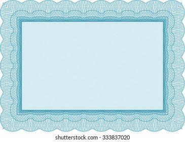 light blue sample diploma frame certificate stock vector royalty