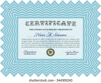 Sample certificate or diploma. Superior design. With guilloche pattern. Frame certificate template Vector.