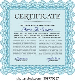 Sample Certificate. Modern design. Vector pattern that is used in money and certificate.With quality background.