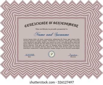 Sample Certificate. Printer friendly. Retro design. Border, frame.