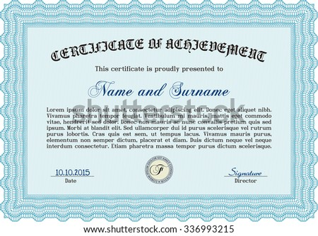 Sample Certificate Quality Background Complex Design Stock Vector