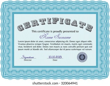 Sample Certificate. With quality background. Frame certificate template Vector.Modern design.