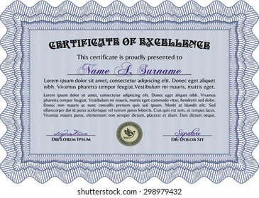 Sample Certificate. Retro design. With great quality guilloche pattern. Money style.
