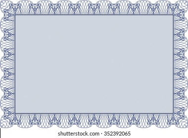 Sample Certificate. Vector pattern that is used in currency and diplomas.Artistry design. With guilloche pattern and background.