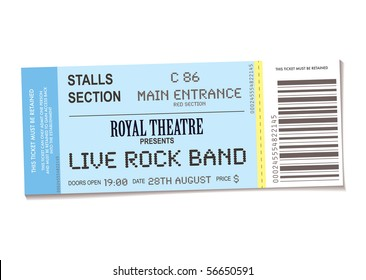 sample concert ticket with realistic look and date information