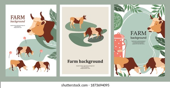 Sample cover for agricultural brochure. Cows in the pasture. Cow silhouette made of multi-colored segments. Templates for dairy farm. Backgrounds for flyers, banners, posters. A set of banners.