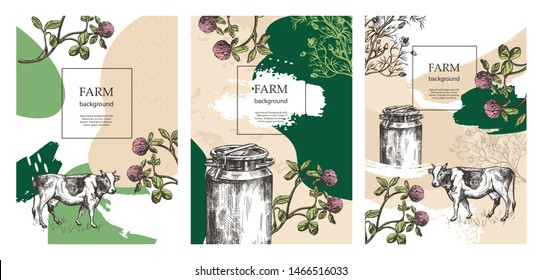 Sample cover for agricultural brochure. Milk can, cow and meadow flowers. Templates for dairy farm. Backgrounds for flyers, banners, posters. Sketch vector illustrations. A set of banners.