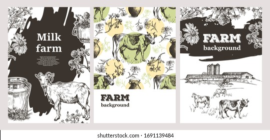 Sample cover for agricultural brochure. Milk can, cow, goat and meadow flowers. Cheese on a wooden board. Template for dairy farm.  Sketch vector illustration. A set of banners.