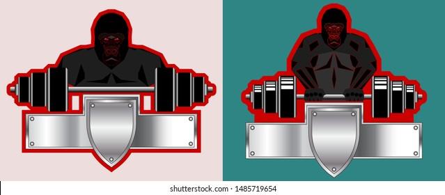 Sample emblem or logo of a sports gym. Barbell and huge gorilla