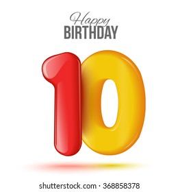 Sample greeting card to the 10 th anniversary. Air 3D red numbers from the figures. Invitation card to the party with balloons on a white background. Suitable for printing, web delivery, the jubilee