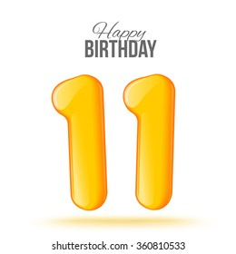 Sample greeting card to the 11 th anniversary. Air 3D red numbers from the figures. Invitation card to the party with balloons on a white background. Suitable for printing, web delivery, the jubilee