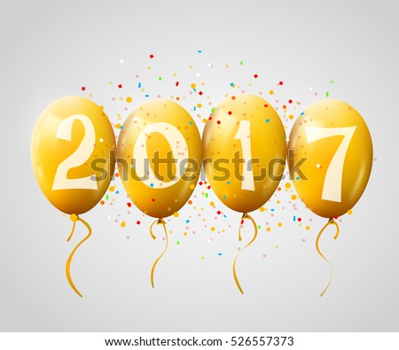 sample greeting card 2017 christmas or new year card with realistic yellow balloons and numbers on