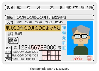 Sample image of an excellent male elderly driver's license