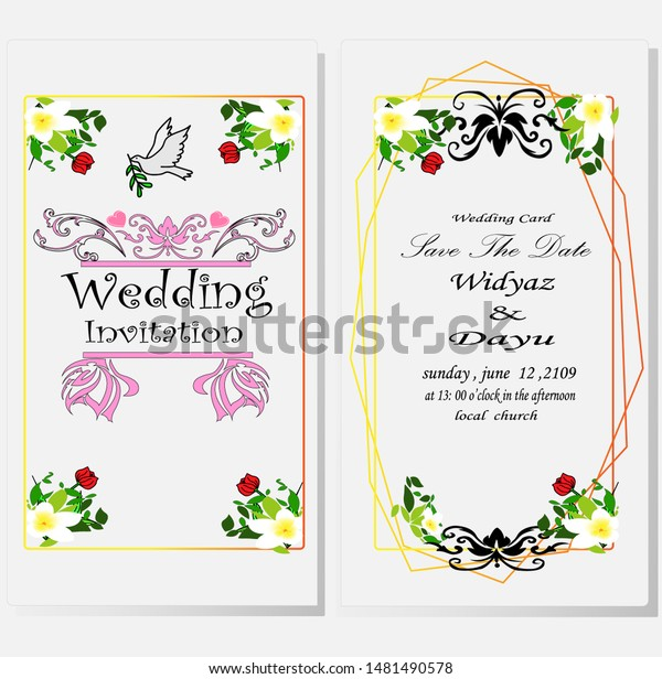 Sample Invitation Cards That Simple All Stock Vector
