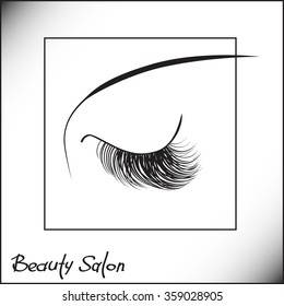 Sample logo for a beauty salon, cosmetics product, mascara label, cosmetology procedures, makeup stylist. Eyelash extensions or false lashes symbol.