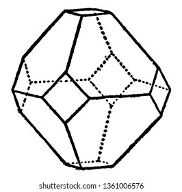 The sample octahedron in combination with the hub. Octahedron is a polyhedron with eight faces, vintage line drawing or engraving illustration.